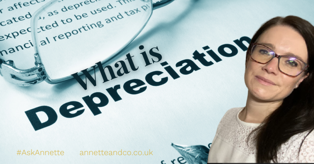 a blog featured image with a title of what is depreciation? with a picture of annette