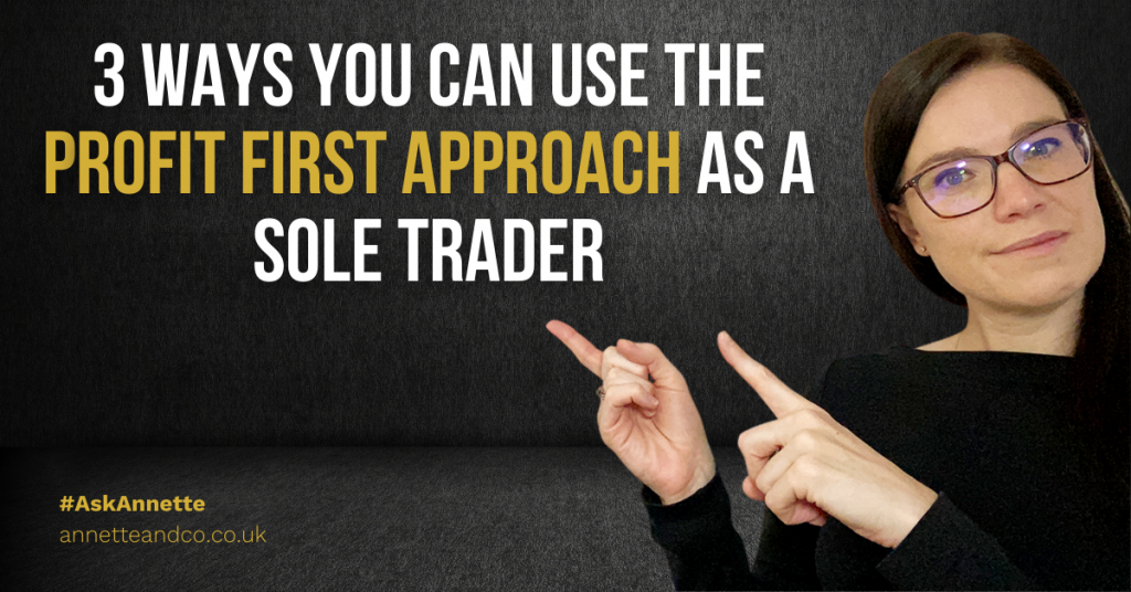 a blog featured image that focuses on profit first approach as a sole trader