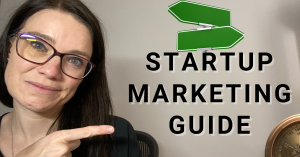 a blog featured image entitled about startup marketing guide with a picture of annette